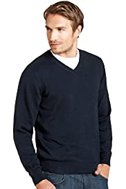 Blue Harbour Pure Cotton V-Neck Jumper