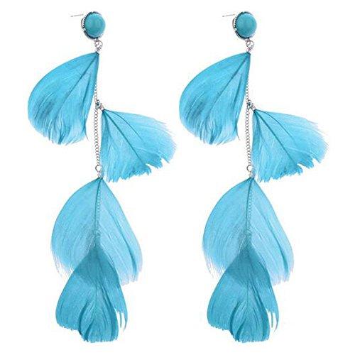 [Darkey Wang Women Bohemian Style Tassel Feather Blue Earrings] (Blue Ghost Pill Costume)
