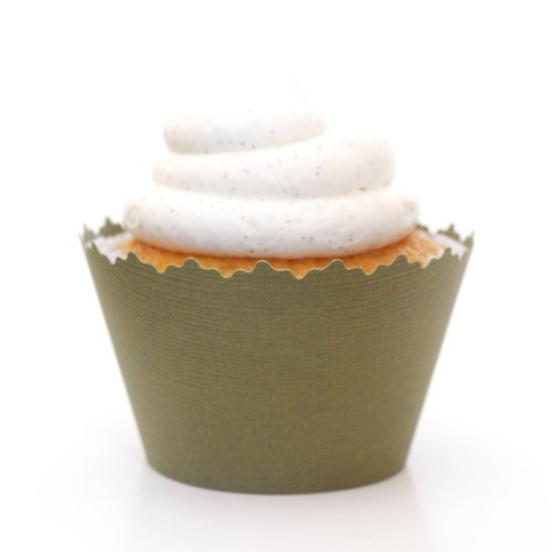 Olive Green Cupcake Wrapper - Set Of 12 - Wrappers Make Fashionable Display At Birthdays, Weddings & Many Events front-1008069