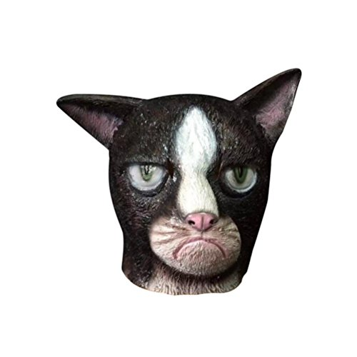 [Koolee Halloween Latex Mask Party Special Design Costume Cat Head Mask, Black] (Jeepers Creepers 2 Costume)
