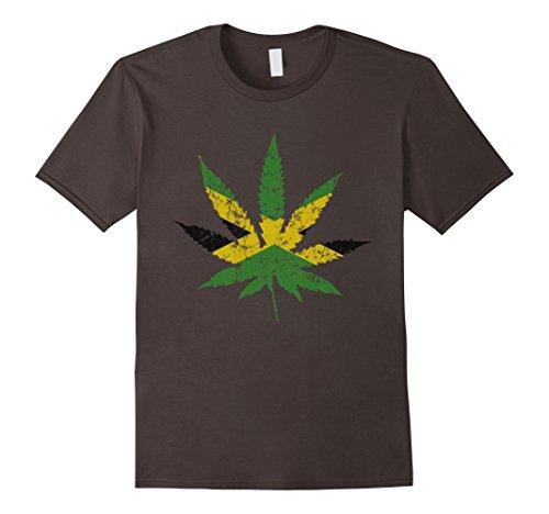 Mens-Retro-420-Flag-of-Jamaica-Pot-Leaf-T-Shirt-2XL-Asphalt
