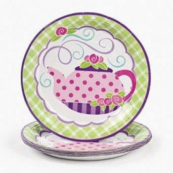 Girly Tea Party Dinner Plates (8 pc)