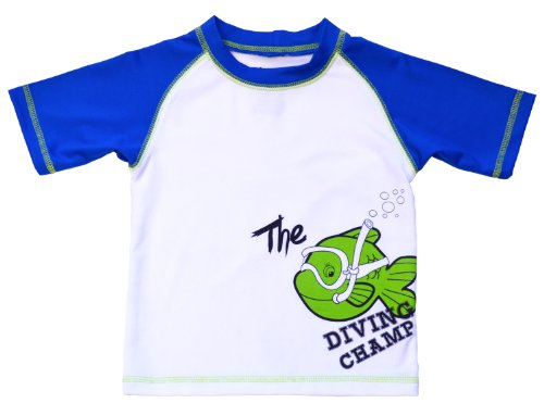 IXtreme Boys Infant Diving Champ Short Sleeve Swimsuit Tee, Royal 24M