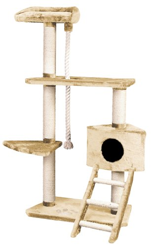 Whisker World Tower of Kitty Power Cat Furniture, Beige Plush