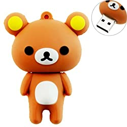 16GB USB Flash Drive with Cute Rilakkuma Shape 16G Memory Stick U Disk - Brown