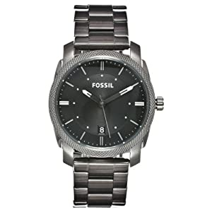 Fossil Watches, Men's Machine Three Hand Stainless Steel Watch - Smoke