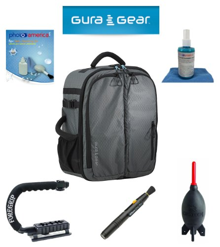Gura Gear Bataflae 26L Backpack (Grey) For Nikon D800, D600, D7000, D7100, D300, D200, D100, D90, D5000, D5100, D3100, D3200 + Foregrip + Nikon Lens Pen Cleaning System + Giotto'S Air Blower + Cleaning Kit + Olympus Waterproof Binoculars