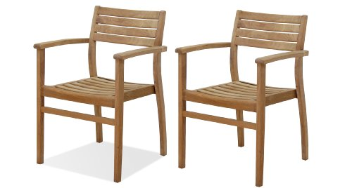 Amazonia Teak Coventry 4-Piece Teak Stacking Chairs