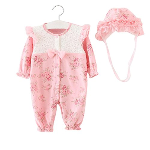 Baby Clothes, Egmy Cute Newborn Infant Baby Girls Infant Cap Hat+Romper Bodysuit Playsuit Clothing Set (Size:0-3M, Pink)