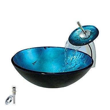 Güstig online Shoppen Blaue runde Glas Schiff Spülbecken