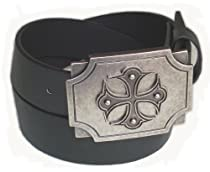 BeltsandStuds Man Women Black snap on belt with Metal Cross buckle M 34 Black