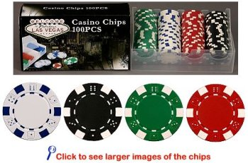 100 11.5 gram Dice Striped Poker Chips in PVC Case w/Lid & Las Vegas Gift Box, Choose from 4 designs