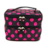 WAWO Double Layer Cosmetic Bag Travel Toiletry Cosmetic Makeup Bag Organizer With Mirror -Black with Rose Red Dot