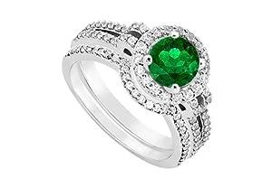 14K White Gold Emerald Diamond Engagement Ring with Wedding Band Sets 1.15 CT TGW