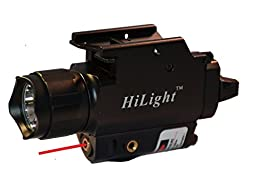 HiLight P10C 2016 Edition 500 lumen Pistol Flashlight & Red Laser Combo with Weaver Quick Release