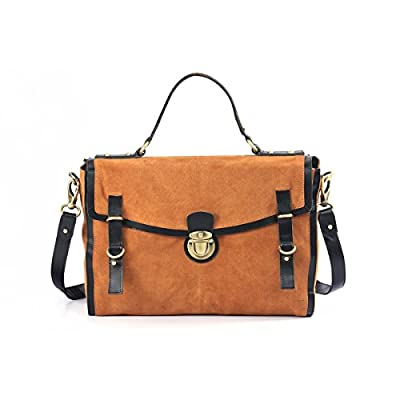 """Assots 'QUINTON' Genuine leather quality soft suede large 15 """" Satchel with detachable shoulder strap and Top handle, push lock ideal for 14 """" Laptop, Files, office, Brown Blue Pink. - satchels, more-bags"""