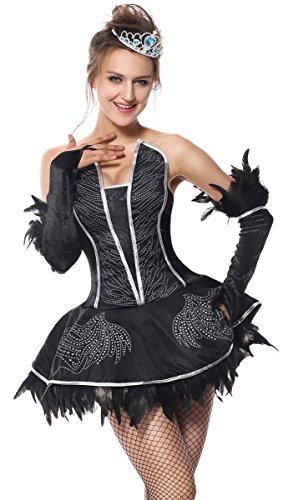 [Killreal Women's Deluxe Adult Swan Lake Dance Halloween Costume Black XX-Large] (Black Swan Costume Ballet)