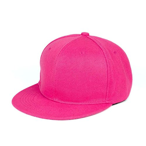 Berretto baseball Familizo Berretto da baseball unisex Plain Snapback Hats Hip-Hop regolabile (Rosa caldo)