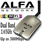 Alfa AWUS051NH 500mW High Gain 802.11b, 802.11a, 802.11g, 802.11n high power Wireless USB A / B / G / N Wireless WiFi Network adapter With a 5dBi Rubber Antenna and Suction cup / Clip Window Mount - High speed Up to 300 Mbps - With Hot Swap Support
