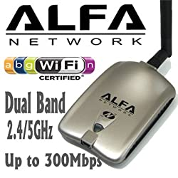 Alfa AWUS051NH 500mW High Gain 802.11a/b/g/n high power Wireless USB A / B / G / N Wireless WiFi Network adapter With a 5dBi and 9dBi Rubber Antenna and Suction cup / Clip Window Mount - High speed Up to 300 Mbps - With Hot Swap Support