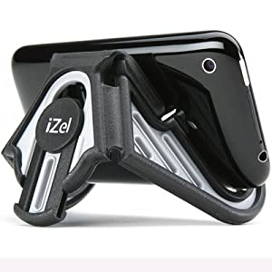 iZel Portable Multi-Angle Smartphone stand for iPhone, iPod, Samsung Galaxy, HTC, Mini Tablet, e-Reader and other Mobile Devices - Retail Packaging (Grey/Black)