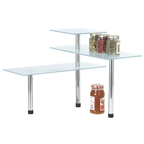 maxi-etagere-verre-givre-armature-en-acier-inoxydable-a-3-niveaux