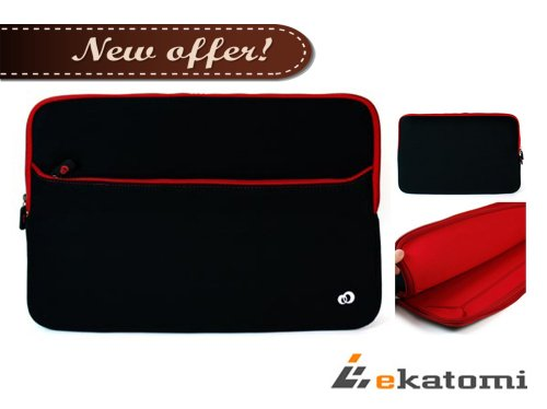[Glove 2] RED & Hyacinthine | 15-inch Laptop Bag / Neoprene Sleeve for Dell Inspiron 15R 7520. Extra Ekatomi screen cleaner pad