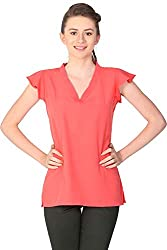 Unimod Women's Polyester Regular Fit Top (U034_Coral_XS, Coral, XS)