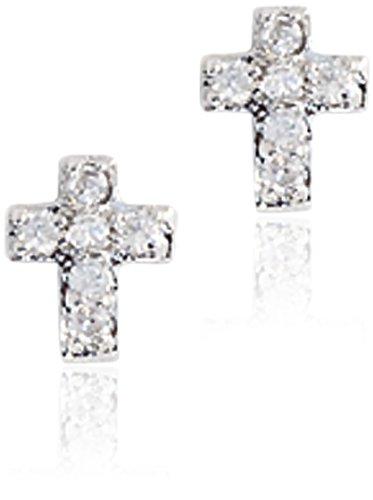 Children's Sterling Silver Cubic Zirconia Cross Earrings