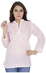 Ada Vastram Women's Cotton Slim Fit Kurta (Medium, Pink)