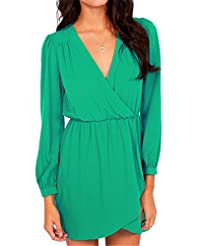 Print: General Print   Material: Polyester  Dress Length: Short   Dress Silhouette: Shift   Shoulder: Long Sleeves   Neckline: V-Neck   Embellishments: Wrap   Size Category: Adult  Hand Wash