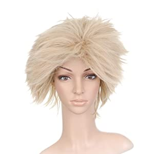 Light Blonde Windblown Styled Short Length Anime Cosplay Costume Wig