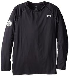 TYR SPORT Men\'s Long Sleeve Swim Shirt, Black, X-Large