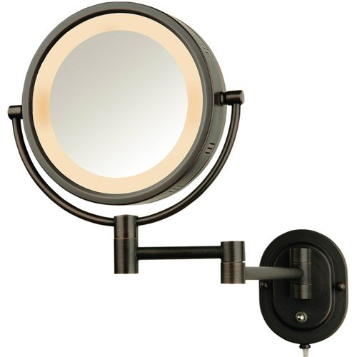 """8"""" 2-Sided Swivel Wall Mount Mirror With 5X Magnification, 14"""" Extension, Bronze"""