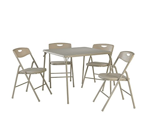 Cosco Products 5-Piece Folding Table and Chair Set, Antique Linen
