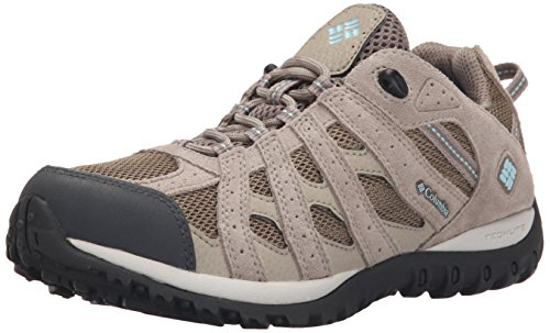 Columbia Women's Redmond Waterproof Trail Shoe, Pebble/Sky Blue, 9 B US