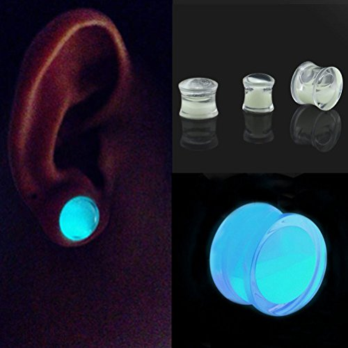 New Glow in the Dark Liquid Filled Ear Plugs Double Flared Saddle Ear Gauges New 1Pc x8mm 2 G Set43 (2g Fancy Plugs compare prices)