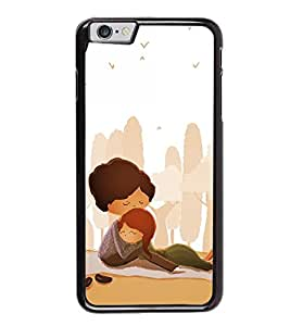 Fuson Premium 2D Back Case Cover Lovely hug With Yellow Background Degined For Apple iPhone 6S