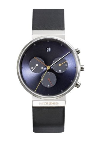 Jacob Jensen 605 - Reloj cronógrafo unisex, correa de cuero color negro