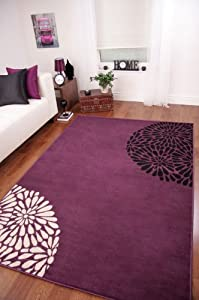 Modern Violet Purple Black Cream Plain Rug Shiraz by The Rug House