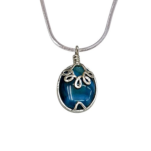 Surat Diamonds Oval Shaped Blue Agate & Silver Plated Pendant With Silver Finished Chain For Women (SDS195)