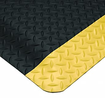 Wearwell PVC 497 Smart Diamond-Plate Medium Duty Anti-Fatigue Mat, Tapered Edges, for Dry Areas, Black / Yellow