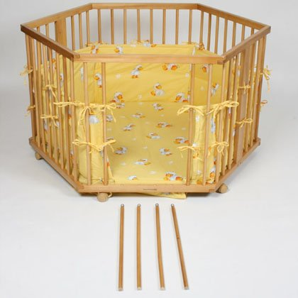 Wooden playpen hexagonal height adjustable yellow
