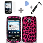Rubberized Hot Pink Black Leopard Snap on Design Case Hard Case Skin Cover Faceplate for LG Optimus T/Thrive/Phoenix P509/P505 (4 Items Combo : Case - Screen Protector Film - Case Opener - Stylus Pen)