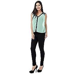 Eavan Women's Casual Wear Sea Green Solid Top Polyester Top