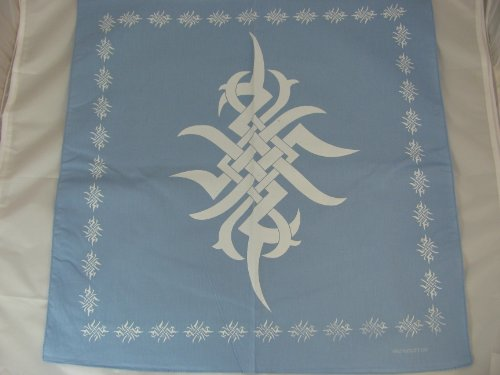 Blue square bandana with white tribal print. 100% cotton. 56cm x 56cm. Ideal every day wear, pirate party, bikers, etc.
