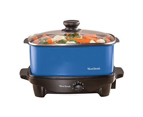 West Bend 84915B Versatility Slow Cooker with Insulated Tote and Transport Lid, 5-Quart, Blue (Slow Cooker Bag Non Electric compare prices)