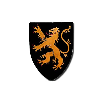 Rampant Lion - Black Medieval Shield - 16 Gauge Steel - Black - One Size