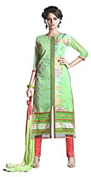 Lovely Look Green Embroidered Dress Material