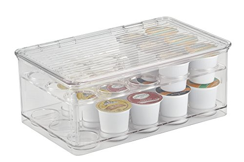 mDesign Stackable K-Cups Coffee Pod Holder with Lid for Kitchen Pantry, Countertops - 2-Tier, Holds 29 Capsules, Clear (Keurig K Cups Container compare prices)